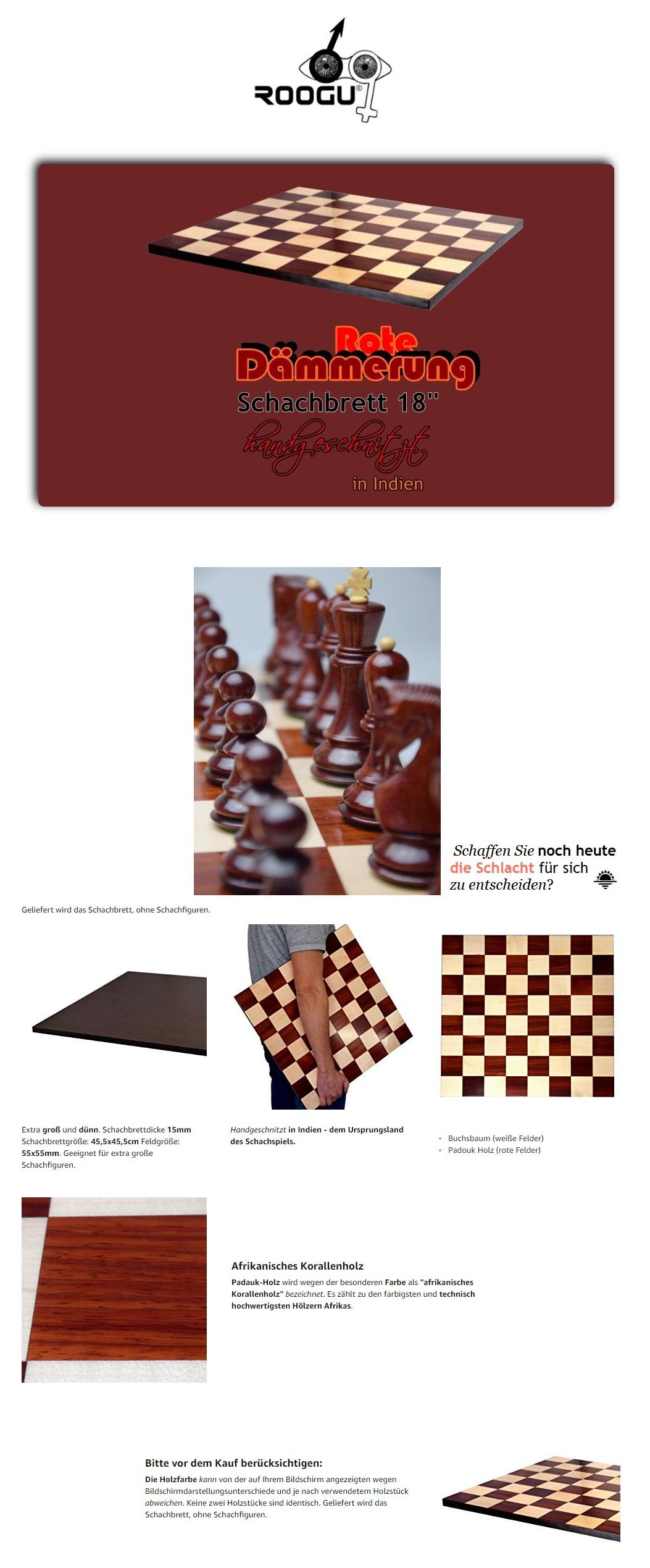 Rote Dämmerung Luxus Schachbrett 18/'/' Padauk Feld 55mm Indien Hochglanz B-Ware