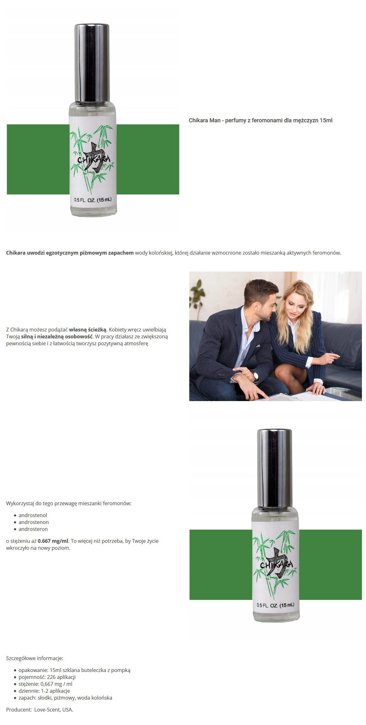 Chikara - egzotyczne perfumy z feromonami dla mężczyzyn. Love&Business
