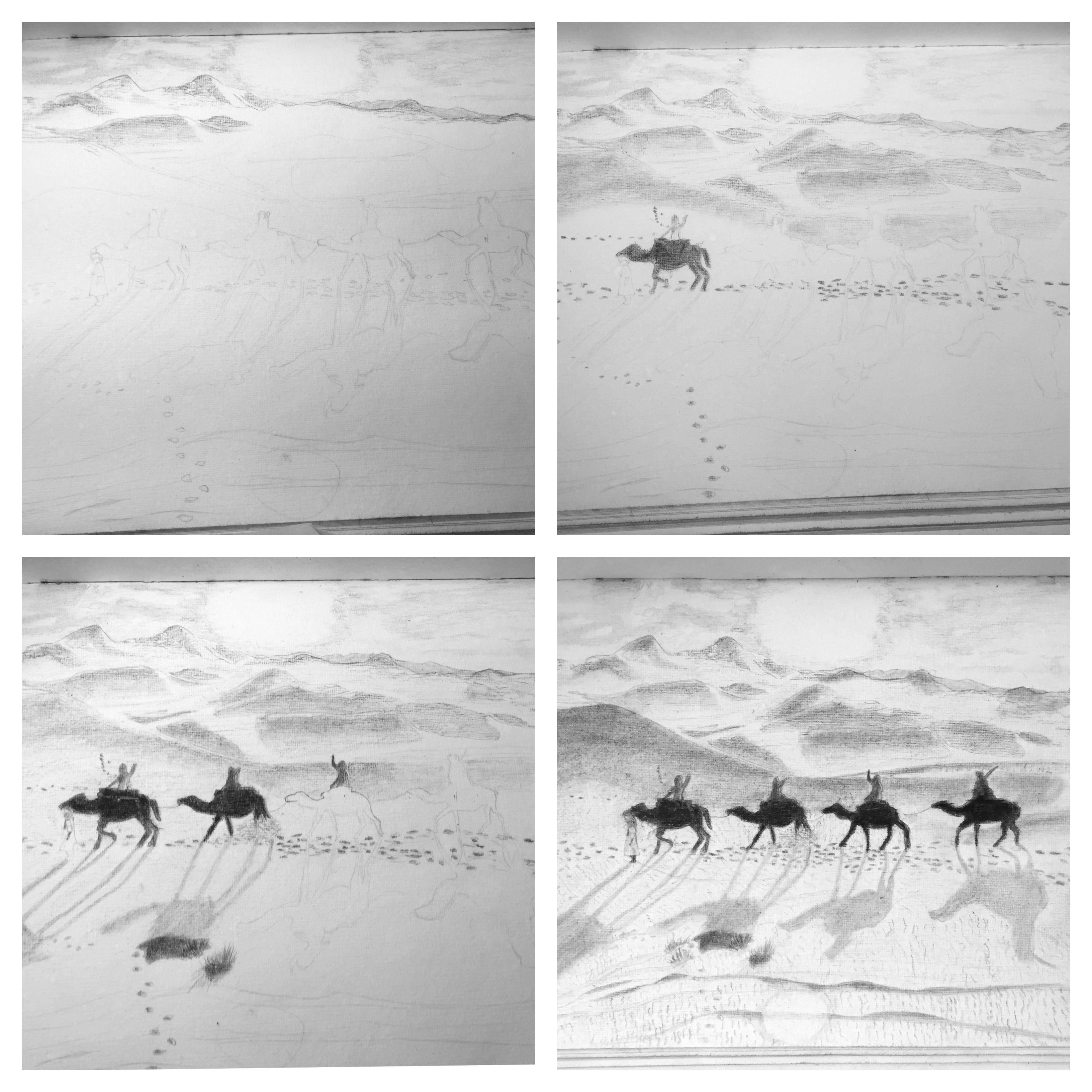 Eine Kamel Karawane zieht durch die Wüste Bleistift Skizze