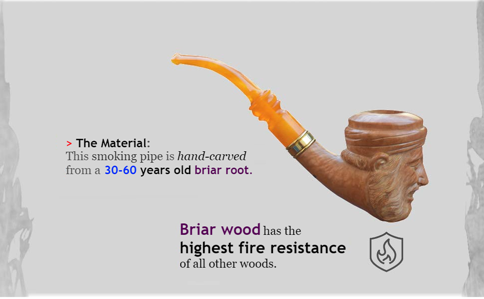 Briar wood hand carved smoking pipe with orange mouthpiece.