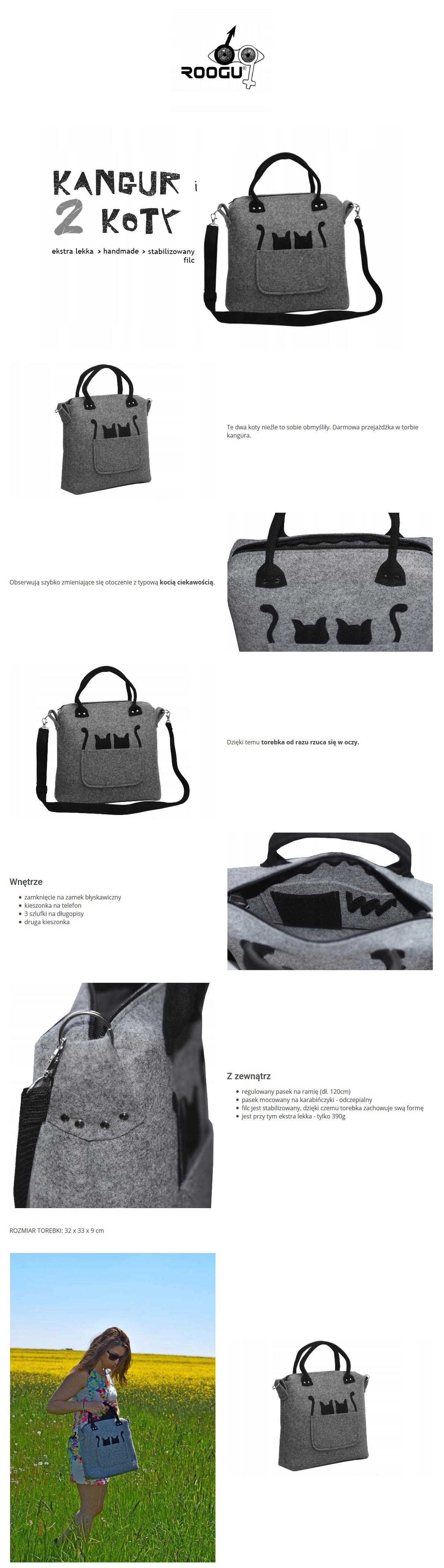 Designerska torebka na ramie do reki filc szary 2 koty